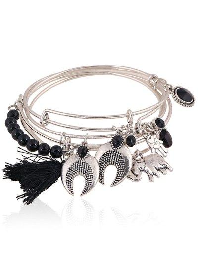 Faux Gem Elephant Tassel Charm Bracelet