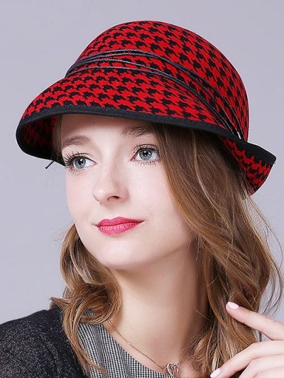 Houndstooth Layered Rope Winter Hat