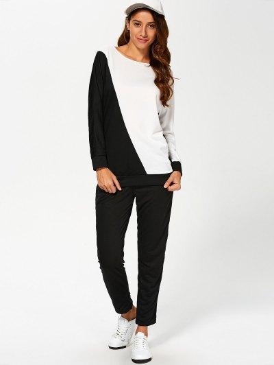 Color Block Sweatshirt With Pants Suit