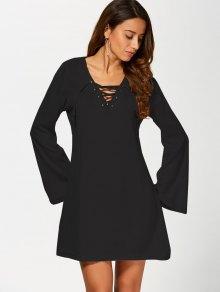 Flared Sleeve Lace Up Knit Dress - BLACK M