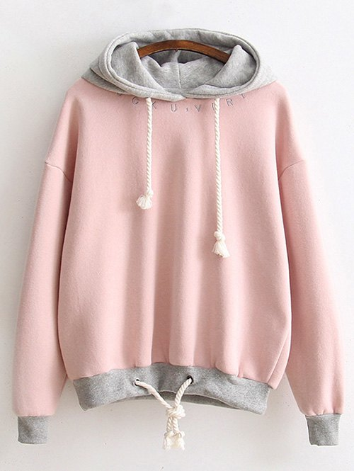 Letter Embroidered Fleeced Hoodie