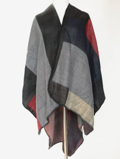 Color Block Open Front Poncho