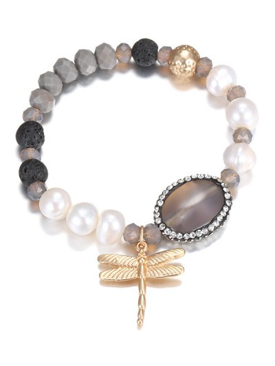 Dragonfly Faux Crystal Pearl Beaded Bracelet