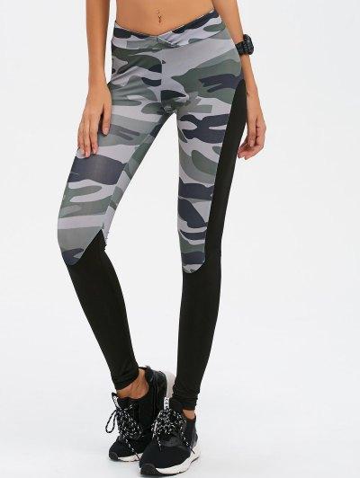 Camo Print Paneled Leggings