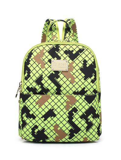 Argyle Pattern Zippers Backpack