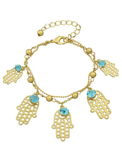 Rhinestone Palm Beads Charm Bracelet