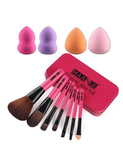 7 Pcs Nylon Makeup Brushes Set with Iron Box 4 Pcs Beauty Blenders
