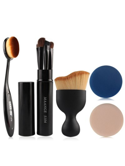 5 Pcs Eye Makeup Brushes Kit Foundation Brush S Shape Blush Brush Air Puffs