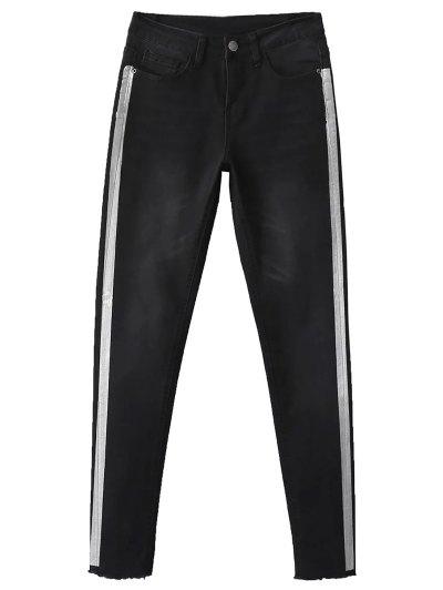 Frayed Side Stripe Skinny Jeans