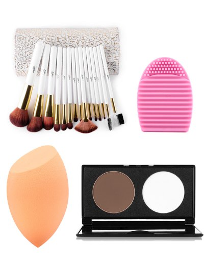 15 pcs Makeup Brushes Kit Pressed Powder Kit Beauty Blender Brush Egg
