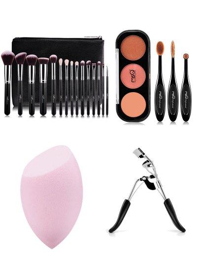 15 pcs Makeup Brushes Kit Eyeshadow Kit Beauty Blender Eyelash Curler