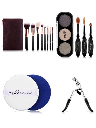 8 pcs Makeup Brushes Kit Eyeshadow Kit BB Cream Puff Eyelash Curler