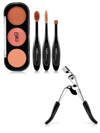 3 Colours Eyeshadow Kit Eyelash Curler