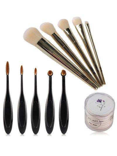10 Pcs Makeup Brushes and 8 Pcs Floral Print Air Puffs