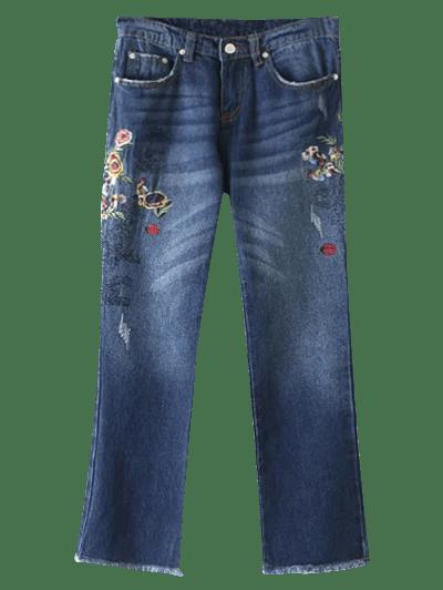 Frayed Hem Floral Jeans
