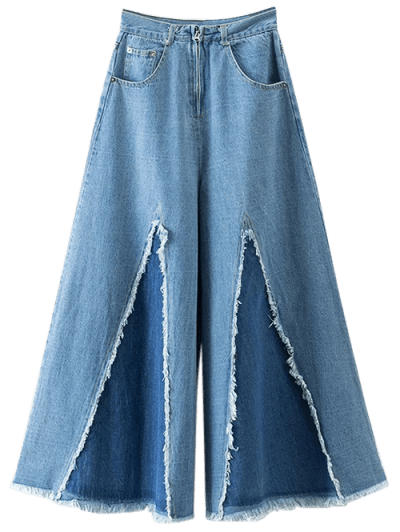 Frayed High Waisted Culotte Jeans