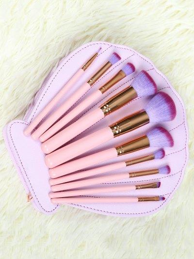 10 Pcs Makeup Brushes Set with Scallop Brush Bag
