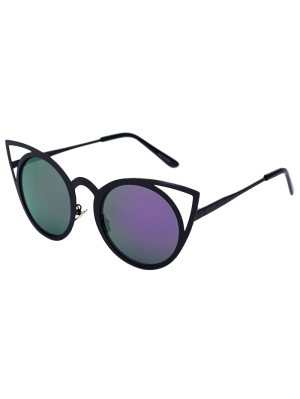 Black Charming Cat Eye Mirrored Sunglasses - Purple