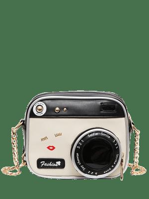 Novelty Camera Shaped Cross Body Bag - White And Black