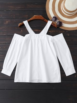 Poplin Cold Shoulder Blouse - White
