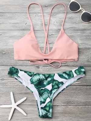 Ensemble De Bikini Cami Bralette à Feuilles De Palmier - Rose Et Vert M