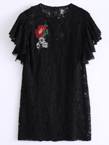 Ruffles Embroidered Lace Dress