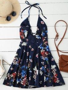 Halter Plunge Backless Floral Dress - Bleu Foncé 2xl