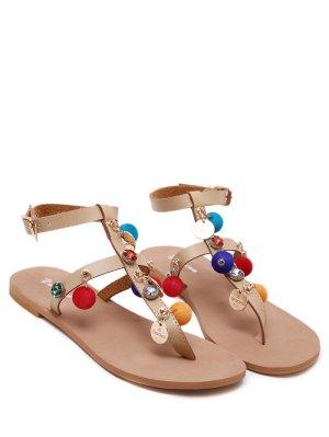 T Bar Pompon Flat Heel Sandals - Apricot 40