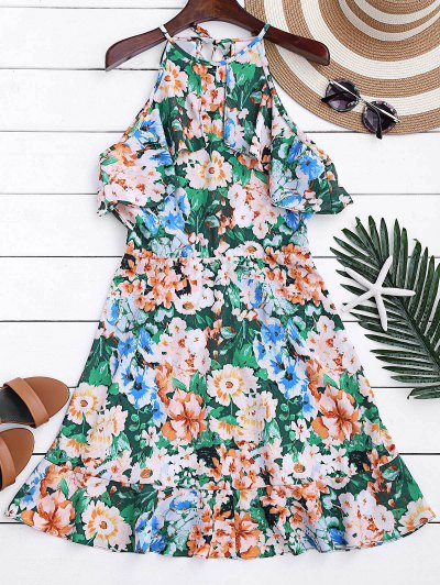 Zaful High Neck Ruffles Floral A-Line Dress