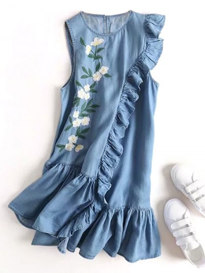 Zaful Floral Embroidered Ruffles Casual Dress