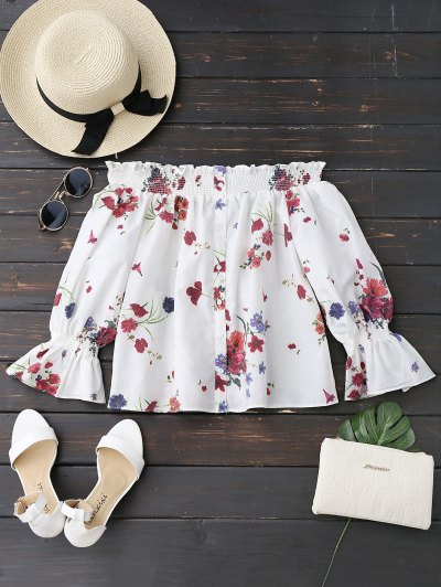 Zaful Long Sleeves Floral Off The Shoulder Top