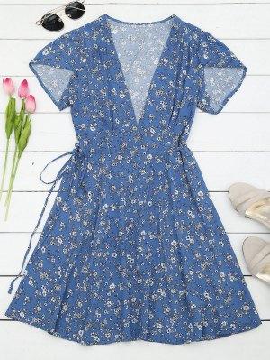 Tiny Floral Mini Wrap Beach Dress - Floral - Floral L
