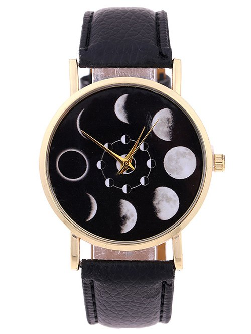 Lunar Eclipse Faux Leather Quartz Watch