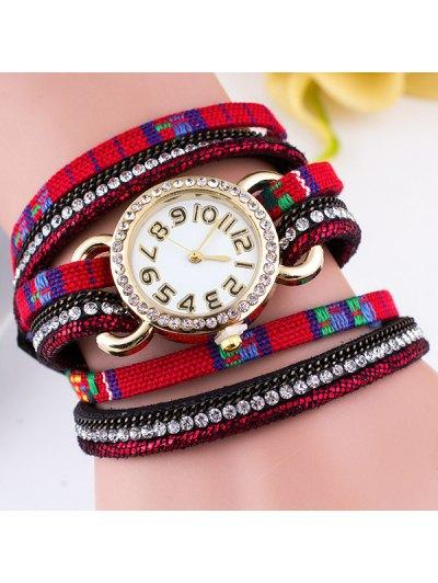 Ethnic Rhinestone Braid Wrap Bracelet Watch