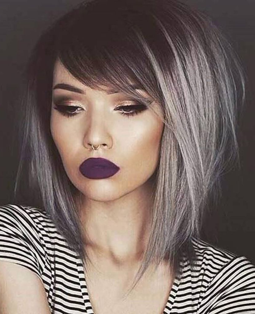 15 Ways To Add Bright Color To Your A Line Bob Haircut Medium Length Two Tone Hair Color Short Hairstyles