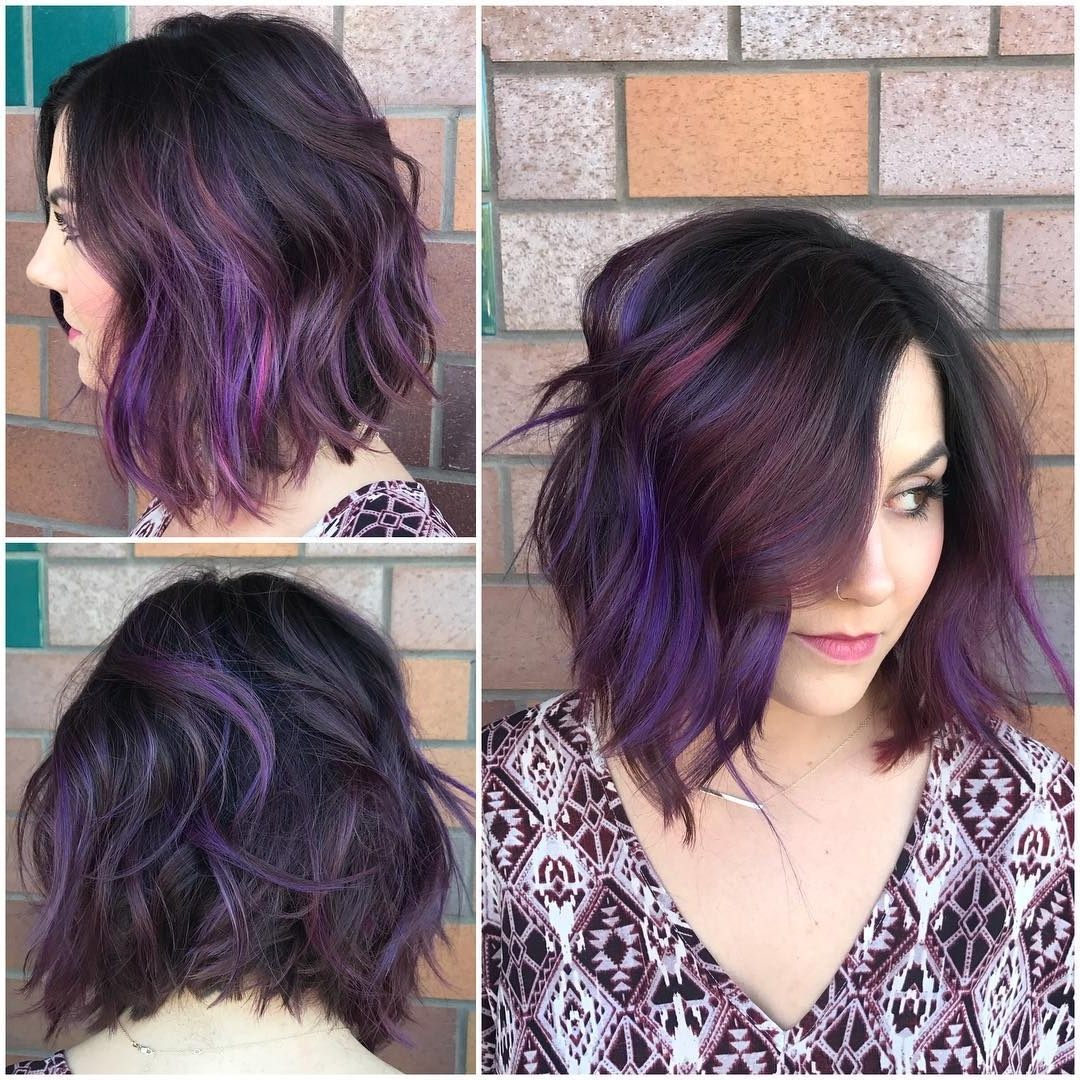 Black Wavy Textured Bob With Purple And Burgundy Highlights Purple Hairstyles For Medium Hair