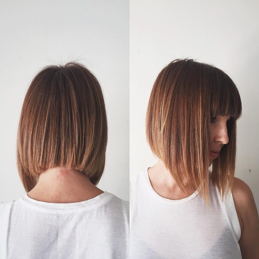 Ginger A Line Bob With Full Blunt Bangs And Highlights The Medium Length A Line Hairstyles