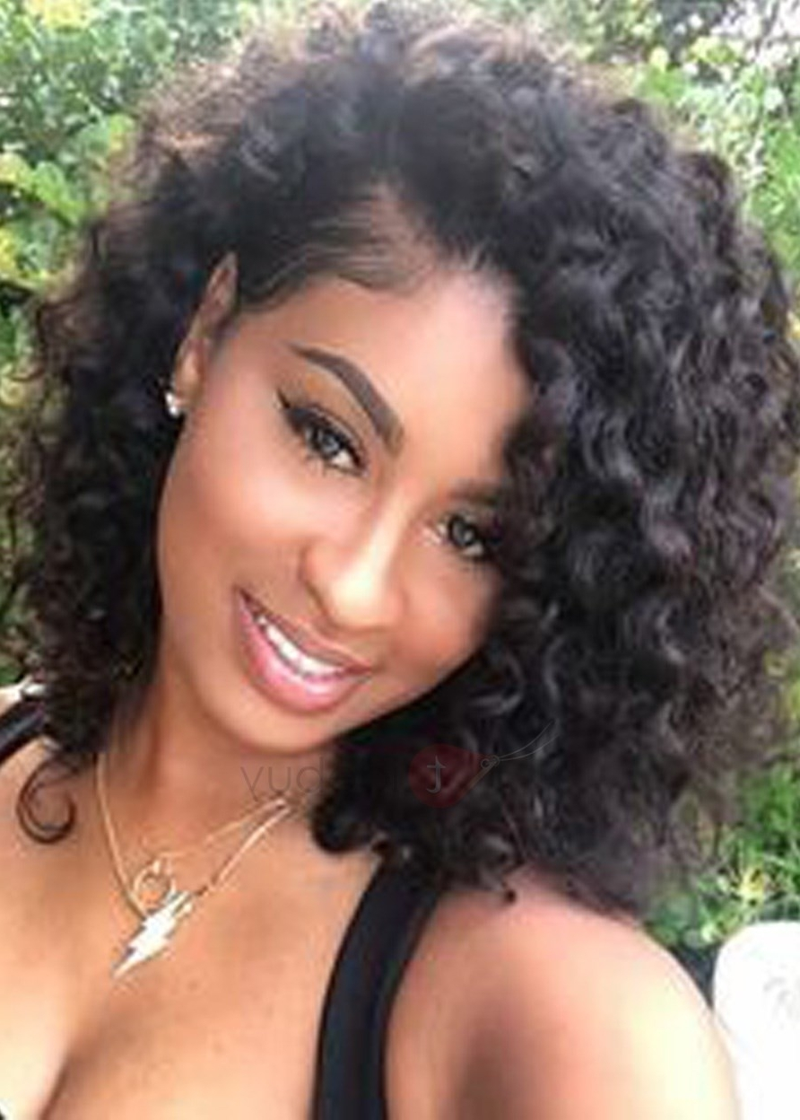 Kinky Curly Natural Black Loose Medium Layered Synthetic Hair African American For Black Women Capless 16 Inches African American Medium Layered Hairstyles