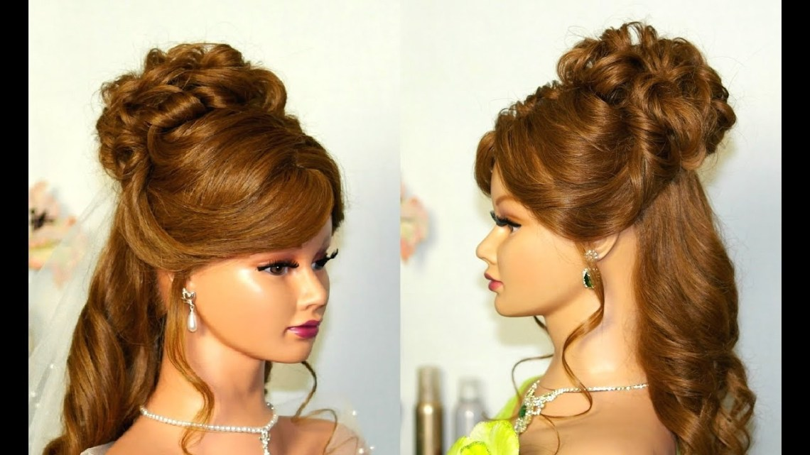 Wedding Hairstyle For Medium Long Hair: Curly Half Up Half Down. Half Up Medium Length Hair Wedding Hairstyles