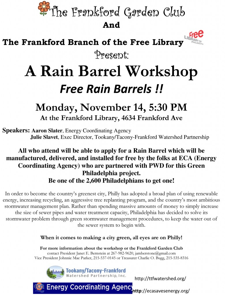 Frankford Rain Barrel Workshop Gazette