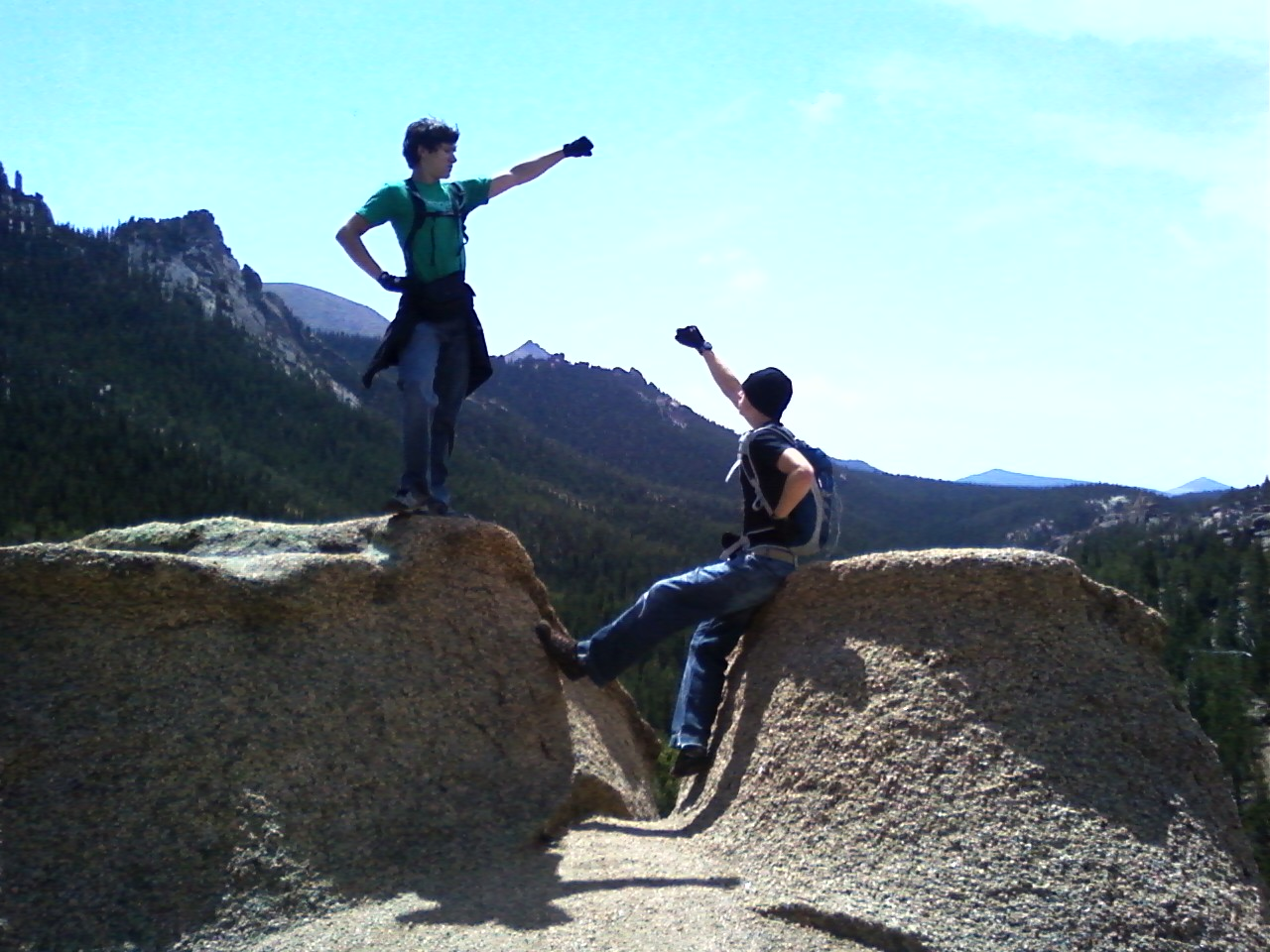 My son, Andy (L) and friend Taylor at the top of the Crag Trail, Pikes Peak