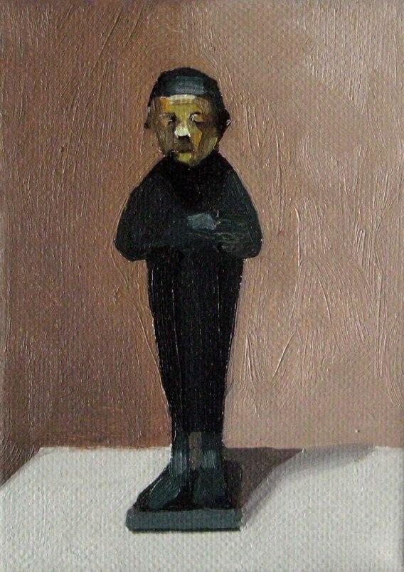 "GloriaMartin. ""Sacerdote de Cádiz"" 2016. Óleo sobre lienzo. 12x8cm."