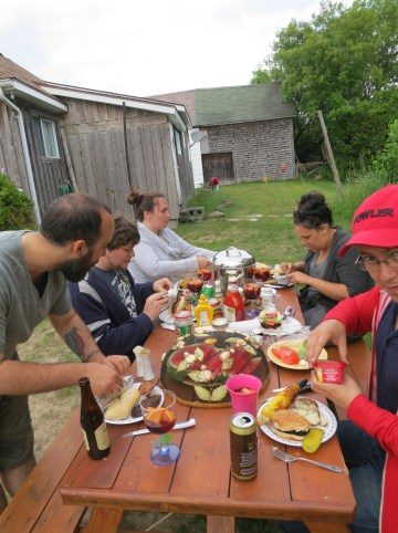 BBQ dinner at the picnic table