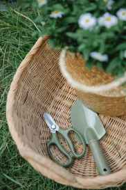 baskets with daisy flowers near garden tools on grass