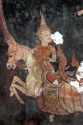 Matali seated on Indra's chariot as his charioteer