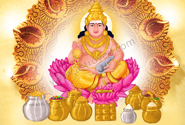 Kubera deva seated on a lotus with pots of riches