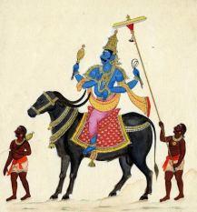 Yama deva seated on his bull Mahisha with 2 attendants following