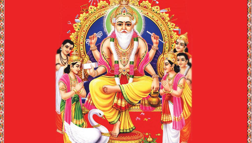 Vishwakarma seated on his throne