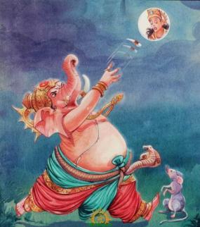 Ganesha and Mushaka angrily looking at the Moon above
