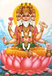 Lord Brahma seated on a lotus